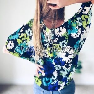 Cato Tie-Front Multicolored Floral Blouse